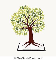 oktatás, fogalom, fa, könyv