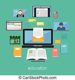 oktatás, fogalom, illustration., oktatás, anyagi készletek