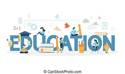 oktatás, fogalom, illustration.