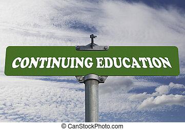 oktatás, folytatódik, út cégtábla