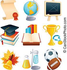 oktatás, ikon, állhatatos