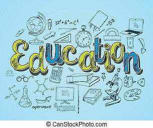oktatás, ikon, fogalom