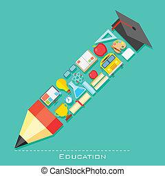 oktatás, ikon, formában, közül, ceruza