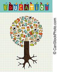 oktatás, ikonok, ceruza, fa.