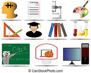 oktatás, ikonok, ikon, állhatatos