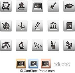oktatás, ikonok, --, metalbox, sorozat