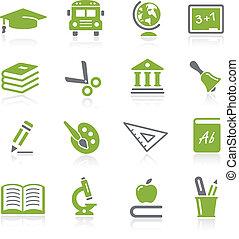 oktatás, ikonok, --, natura, sorozat