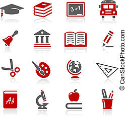oktatás, ikonok, --, redico, sorozat