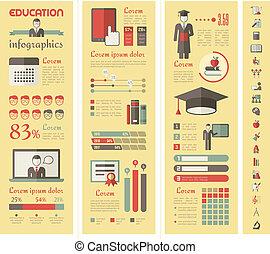 oktatás, infographics.