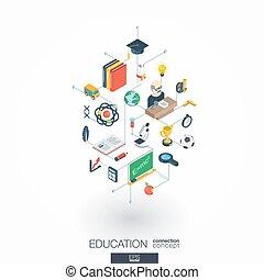 oktatás, integrált, 3, háló, icons., digitális, hálózat, isometric, concept.