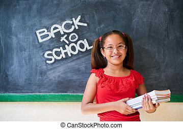oktatás, izbogis, és, boldog, lány mosolyog, birtok, előjegyez, osztály