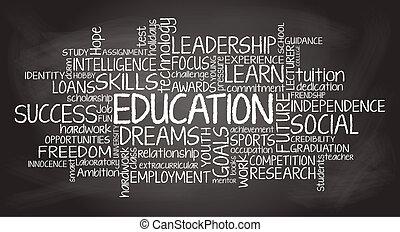 oktatás, kapcsolódó, címke, felhő, ábra