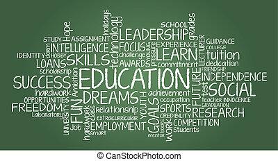 oktatás, kapcsolódó, wor, felhő