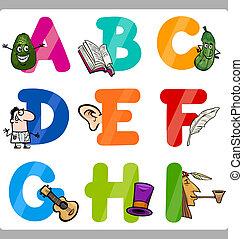 oktatás, karikatúra, abc, irodalomtudomány, helyett, gyerekek