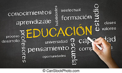 oktatás, kréta rajz, (spanish)