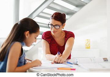 oktatás, noha, anyu, ételadag, lány, cselekedet, izbogis, lecke, otthon