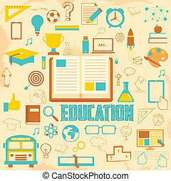 oktatás, retro, háttér