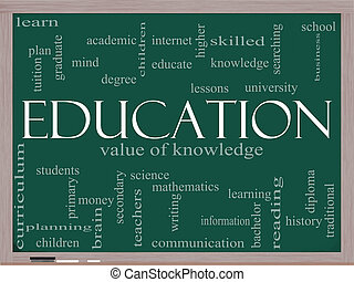 oktatás, szó, felhő, fogalom, képben látható, egy, tábla