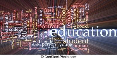 oktatás, szó, felhő, izzó