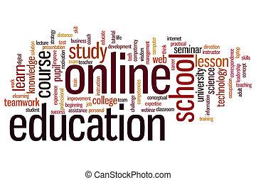 oktatás, szó, felhő, online