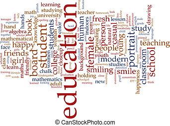 oktatás, szó, felhő