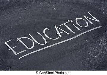 oktatás, szó, képben látható, tábla
