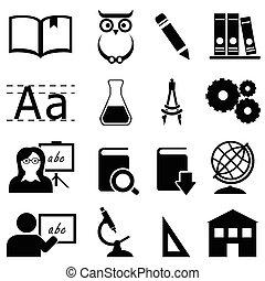 oktatás, tanulás, és, izbogis, ikonok