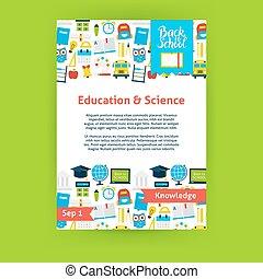 oktatás, tudomány, poszter, sablon