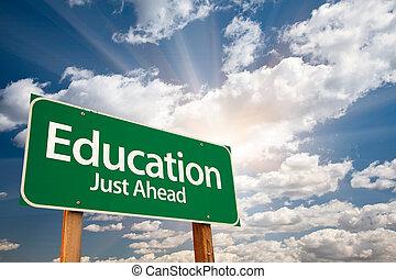 oktatás, zöld, út cégtábla, felett, elhomályosul