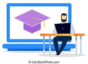 oktató, laptop, legjobb, munkás, vektor, szolgáltatás