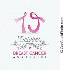 oktober, cancer, affisch, medvetenhet, band, bröst