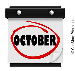 oktober, woord, schema, muur, maand, kalender, veranderen