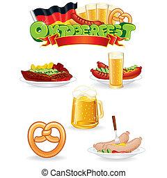 oktoberfest, élelmiszer, ital, icons., vektor, grafika