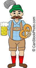 oktoberfest, öl, salt kringla, man