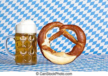 oktoberfest, ölkrus, bayersk, flagga, salt kringla, öl, bakgrund