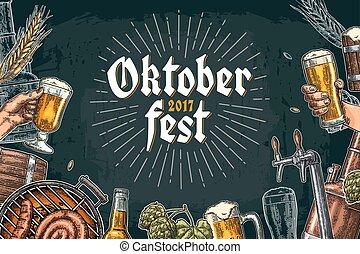 oktoberfest, クラス, セット, 祝祭, 缶, ビール瓶, 蛇口