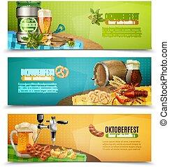 oktoberfest, セット, ビール, 3, 水平なバナー