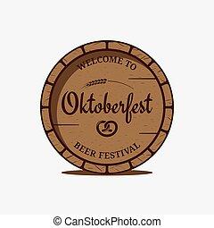 oktoberfest, ビール, 背景, ロゴ, 白, 樽