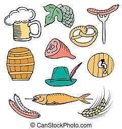 oktoberfest, ポーク, セット, festival., ドイツ語, fish, ソーセージ, , ホツプ, ハム, ビール, 大麦, スティック, 帽子, プレッツェル, 樽