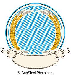 oktoberfest, ラベル, ., bavaria, 旗, 背景, ∥で∥, スクロール, ∥ために∥, テキスト, 隔離された, 白
