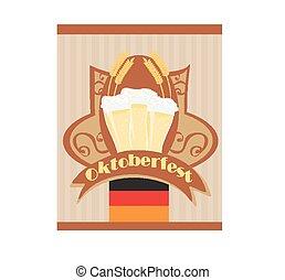 oktoberfest, 啤酒, 卡片