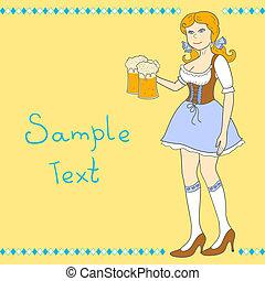 oktoberfest, 啤酒, 女孩, 慶祝