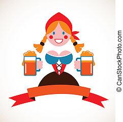 oktoberfest, 啤酒, -, 女孩, 背景