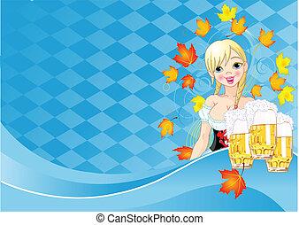 oktoberfest, 女の子, カード, 招待