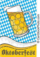 oktoberfest, 杯子, -, 啤酒