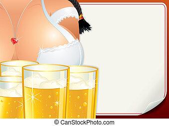 oktoberfest, 海報, 啤酒, girl., fest, 矢量