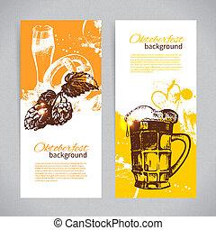 oktoberfest, 背景, 手, ビール, はね返し, ほんの少し, 引かれる, 旗, design., illustrations.