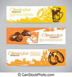 oktoberfest, 背景, 手, 啤酒, 飛濺, 團點, 畫, 旗幟, design.,...