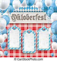 Oktoberfest 3 Price Stickers Banner Balloons Red Blanket