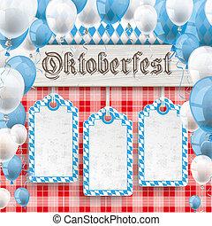Oktoberfest 3 Price Stickers Banner Balloons Red Blanket
